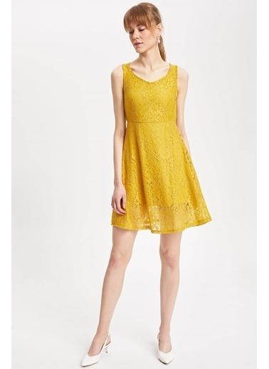 DeFacto Kalın Askılı Dantel Detaylı Örme Elbise Sarı